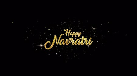 příležitost : Happy Navratri Beautiful golden greeting Text Appearance from blinking particles with golden fireworks background.