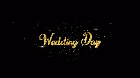 wed : Wedding Day Beautiful golden greeting Text Appearance from blinking particles with golden fireworks background.