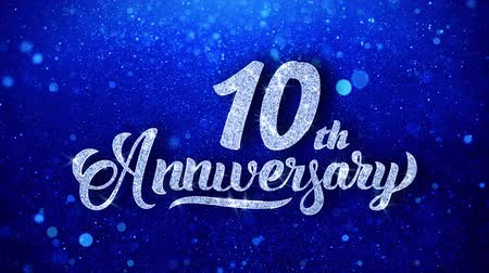 yıllık : 10th Anniversary Wishes Blue Glitter Sparkling Dust Blinking Particles Looped
