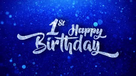 день рождения : 1st happy birthday Wishes Blue Glitter Sparkling Dust Blinking Particles Looped