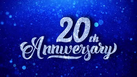 yıllık : 20th Anniversary Wishes Blue Glitter Sparkling Dust Blinking Particles Looped Stok Video