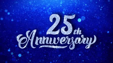 yıllık : 25th Anniversary Wishes Blue Glitter Sparkling Dust Blinking Particles Looped