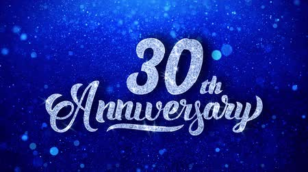 yıllık : 30th Anniversary Wishes Blue Glitter Sparkling Dust Blinking Particles Looped