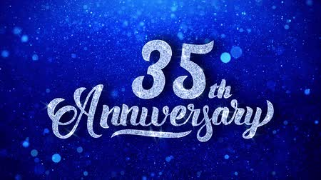 anual : 35th Anniversary Wishes Blue Glitter Sparkling Dust Blinking Particles Looped