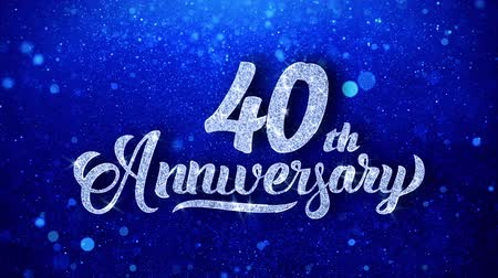 yıllık : 40th Anniversary Wishes Blue Glitter Sparkling Dust Blinking Particles Looped Stok Video