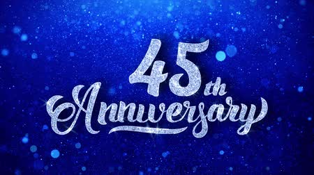 yıllık : 45th Anniversary Wishes Blue Glitter Sparkling Dust Blinking Particles Looped