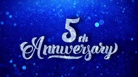 anual : 5th Anniversary Wishes Blue Glitter Sparkling Dust Blinking Particles Looped