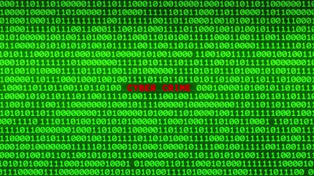 piracy : Wall of Green Binary Code Revealing CYBER CRIME Word Between Random Binary Data Matrix Background Stock Footage
