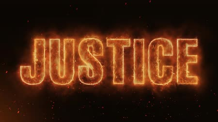 combustão : Justice Word Hot Burning on Realistic Fire Flames Sparks And Smoke continuous seamlessly loop Animation
