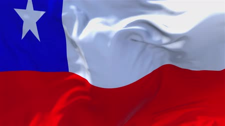 チリ : 14. Chile Flag Waving in Wind Slow Motion Animation . 4K Realistic Fabric Texture Flag Smooth Blowing on a windy day Continuous Seamless Loop Background.