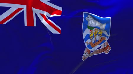 ensign : 17. falkland Islands Flag Waving in Wind Slow Motion Animation . 4K Realistic Fabric Texture Flag Smooth Blowing on a windy day Continuous Seamless Loop Background.