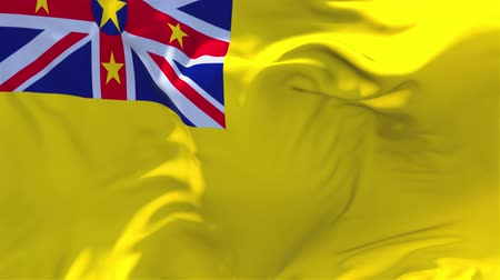 volby : Niue Flag Waving in Wind Slow Motion Animation . 4K Realistic Fabric Texture Flag Smooth Blowing on a windy day Continuous Seamless Loop Background.