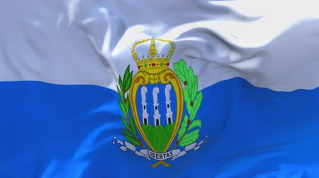 presidente : San Marino Flag Waving in Wind Slow Motion Animation . 4K Realistic Fabric Texture Flag Smooth Blowing on a windy day Continuous Seamless Loop Background.