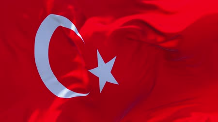 národnost : Turkey Flag Waving in Wind Slow Motion Animation . 4K Realistic Fabric Texture Flag Smooth Blowing on a windy day Continuous Seamless Loop Background.