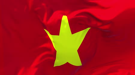 náboženství : Vietnam Flag Waving in Wind Slow Motion Animation . 4K Realistic Fabric Texture Flag Smooth Blowing on a windy day Continuous Seamless Loop Background.