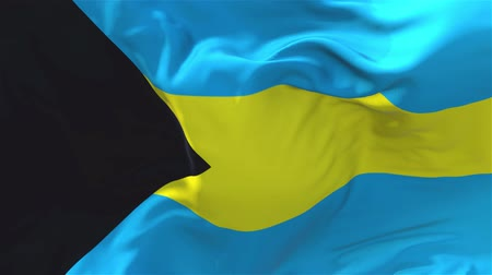 národnost : Bahamas Flag Waving in Wind Slow Motion Animation . 4K Realistic Fabric Texture Flag Smooth Blowing on a windy day Continuous Seamless Loop Background.