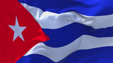 cubano : Cuba Flag Waving in Wind Slow Motion Animation . 4K Realistic Fabric Texture Flag Smooth Blowing on a windy day Continuous Seamless Loop Background. Vídeos