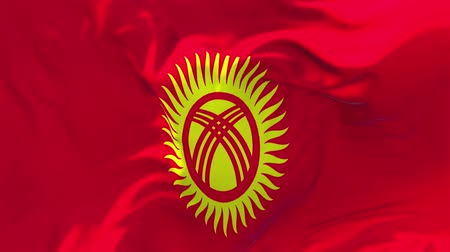siyasi : Kyrgyzstan Flag Waving in Wind Slow Motion Animation . 4K Realistic Fabric Texture Flag Smooth Blowing on a windy day Continuous Seamless Loop Background.