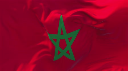 марокканский : Morocco Flag Waving in Wind Slow Motion Animation . 4K Realistic Fabric Texture Flag Smooth Blowing on a windy day Continuous Seamless Loop Background.