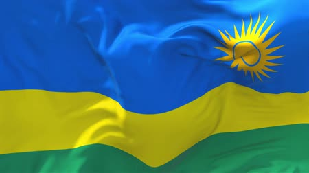 rwandan : Rwanda Flag Waving in Wind Slow Motion Animation . 4K Realistic Fabric Texture Flag Smooth Blowing on a windy day Continuous Seamless Loop Background.