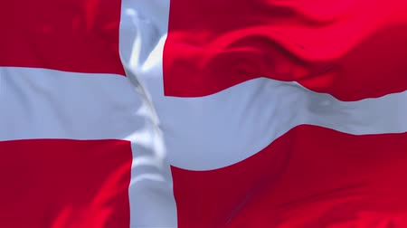 danimarka : Denmark Flag Waving in Wind Slow Motion Animation . 4K Realistic Fabric Texture Flag Smooth Blowing on a windy day Continuous Seamless Loop Background.