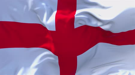 siyasi : England Flag Waving in Wind Slow Motion Animation . 4K Realistic Fabric Texture Flag Smooth Blowing on a windy day Continuous Seamless Loop Background. Stok Video