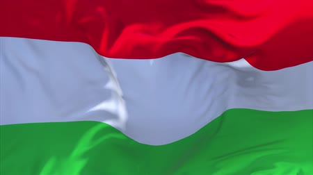 seamless looping : Hungary Flag Waving in Wind Slow Motion Animation . 4K Realistic Fabric Texture Flag Smooth Blowing on a windy day Continuous Seamless Loop Background. Stock Footage