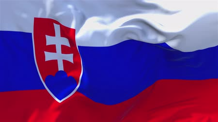 volby : Slovakia Flag Waving in Wind Slow Motion Animation . 4K Realistic Fabric Texture Flag Smooth Blowing on a windy day Continuous Seamless Loop Background.