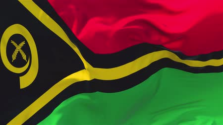 vila : Vanuatu Flag Waving in Wind Slow Motion Animation . 4K Realistic Fabric Texture Flag Smooth Blowing on a windy day Continuous Seamless Loop Background.
