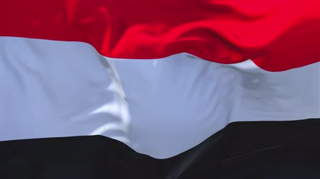 yemen : Yemen Flag Waving in Wind Slow Motion Animation . 4K Realistic Fabric Texture Flag Smooth Blowing on a windy day Continuous Seamless Loop Background.