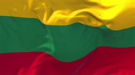 başkan : 145. Lithuania Flag Waving in Wind Slow Motion Animation . 4K Realistic Fabric Texture Flag Smooth Blowing on a windy day Continuous Seamless Loop Background.