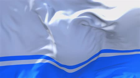 gorno : Altai Republic Flag Waving in Wind Slow Motion Animation . 4K Realistic Fabric Texture Flag Smooth Blowing on a windy day Continuous Seamless Loop Background. Stock Footage