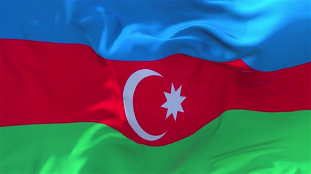 başkan : Azerbaijan Flag Waving in Wind Slow Motion Animation . 4K Realistic Fabric Texture Flag Smooth Blowing on a windy day Continuous Seamless Loop Background.