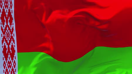 seamless looping : 156. Belarus Flag Waving in Wind Slow Motion Animation . 4K Realistic Fabric Texture Flag Smooth Blowing on a windy day Continuous Seamless Loop Background.