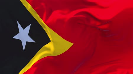 east timor : 170. East Timor Flag Waving in Wind Slow Motion Animation . 4K Realistic Fabric Texture Flag Smooth Blowing on a windy day Continuous Seamless Loop Background. Stock Footage