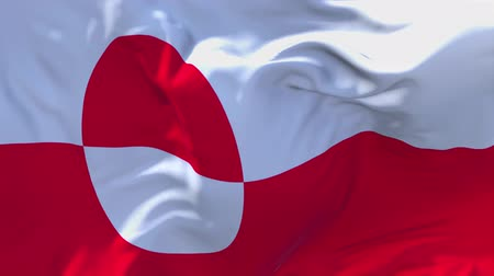 seamless looping : 181. Greenland Flag Waving in Wind Slow Motion Animation . 4K Realistic Fabric Texture Flag Smooth Blowing on a windy day Continuous Seamless Loop Background. Stock Footage