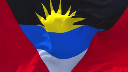 siyasi : Antigua and Barbuda Flag Waving in Wind Slow Motion Animation . 4K Realistic Fabric Texture Flag Smooth Blowing on a windy day Continuous Seamless Loop Background.