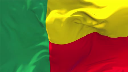 seamless looping : Benin Flag Waving in Wind Slow Motion Animation . 4K Realistic Fabric Texture Flag Smooth Blowing on a windy day Continuous Seamless Loop Background. Stock Footage