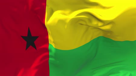 národnost : Guinea Bissau Flag Waving in Wind Slow Motion Animation . 4K Realistic Fabric Texture Flag Smooth Blowing on a windy day Continuous Seamless Loop Background.