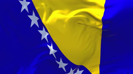 republic of srpska : Bosnia and Herzegovina Flag Waving in Wind Slow Motion Animation . 4K Realistic Fabric Texture Flag Smooth Blowing on a windy day Continuous Seamless Loop Background.