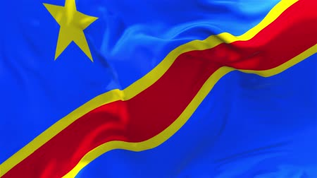 demokratický : The Democratic Republic Of The Congo Flag Waving in Wind Slow Motion Animation . 4K Realistic Fabric Texture Flag Smooth Blowing on a windy day Continuous Seamless Loop Background.