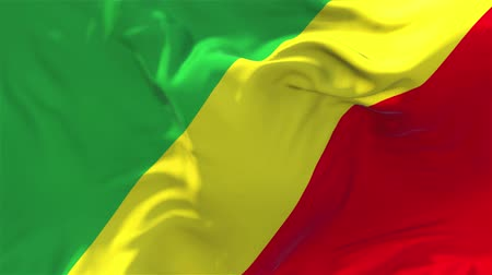 glorious : The Republic Of The Congo Flag Waving in Wind Slow Motion Animation . 4K Realistic Fabric Texture Flag Smooth Blowing on a windy day Continuous Seamless Loop Background.