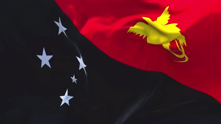 gine : Papua New Guinea Flag Waving in Wind Slow Motion Animation . 4K Realistic Fabric Texture Flag Smooth Blowing on a windy day Continuous Seamless Loop Background.