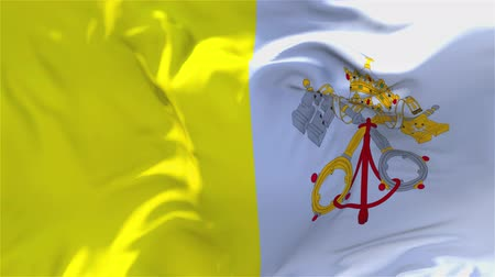 vatikan : Vatican City Flag Waving in Wind Slow Motion Animation . 4K Realistic Fabric Texture Flag Smooth Blowing on a windy day Continuous Seamless Loop Background.