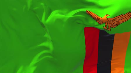 tradiční : Zambia Flag Waving in Wind Slow Motion Animation . 4K Realistic Fabric Texture Flag Smooth Blowing on a windy day Continuous Seamless Loop Background.