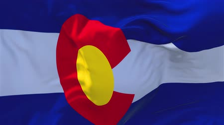 denver : Colorado State Flag Waving in Wind Slow Motion Animation . 4K Realistic Fabric Texture Flag Smooth Blowing on a windy day Continuous Seamless Loop Background. Stock Footage