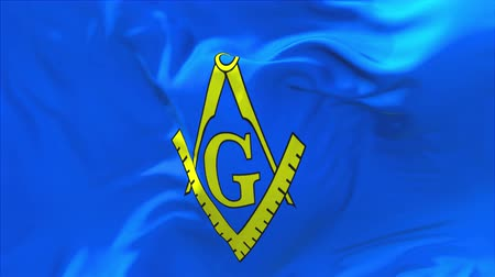 bússola : 271. Freemasonry Flag Waving in Wind Slow Motion Animation . 4K Realistic Fabric Texture Flag Smooth Blowing on a windy day Continuous Seamless Loop Background.
