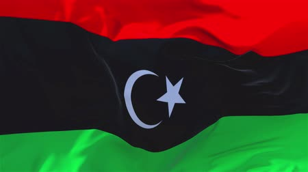 libya : Libya Flag Waving in Wind Slow Motion Animation . 4K Realistic Fabric Texture Flag Smooth Blowing on a windy day Continuous Seamless Loop Background.
