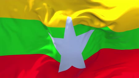 birmânia : Myanmar Flag Waving in Wind Slow Motion Animation . 4K Realistic Fabric Texture Flag Smooth Blowing on a windy day Continuous Seamless Loop Background. Vídeos