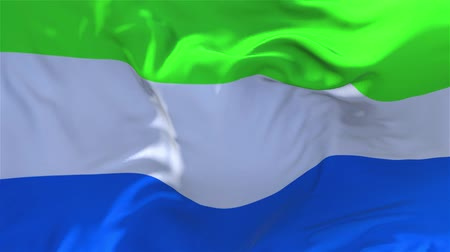 volby : Sierra Leone Flag Waving in Wind Slow Motion Animation . 4K Realistic Fabric Texture Flag Smooth Blowing on a windy day Continuous Seamless Loop Background.